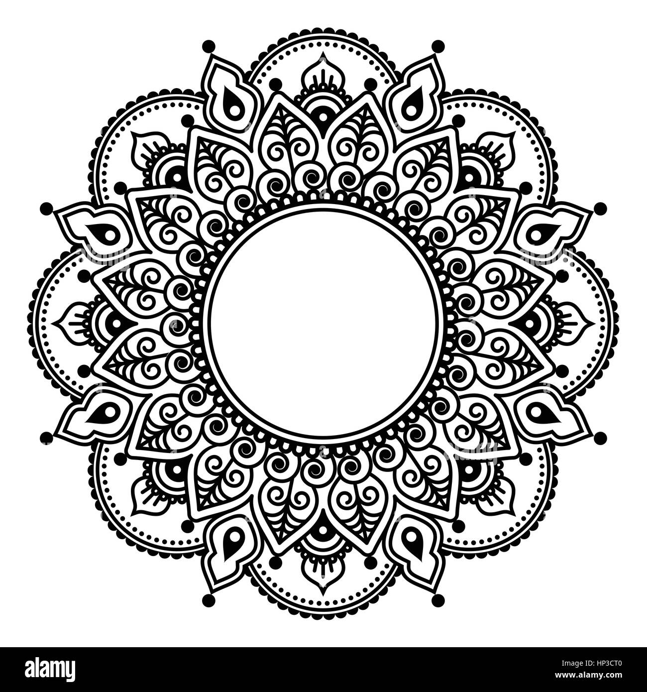 Mehndi Lace Indian Henna Tattoo Round Design Or Pattern