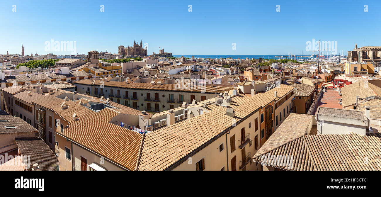 Panorama View of Palma de Mallorca. Wiew of Palma de Mallorca from the roof of one of the houses of the seaside - Stock Image