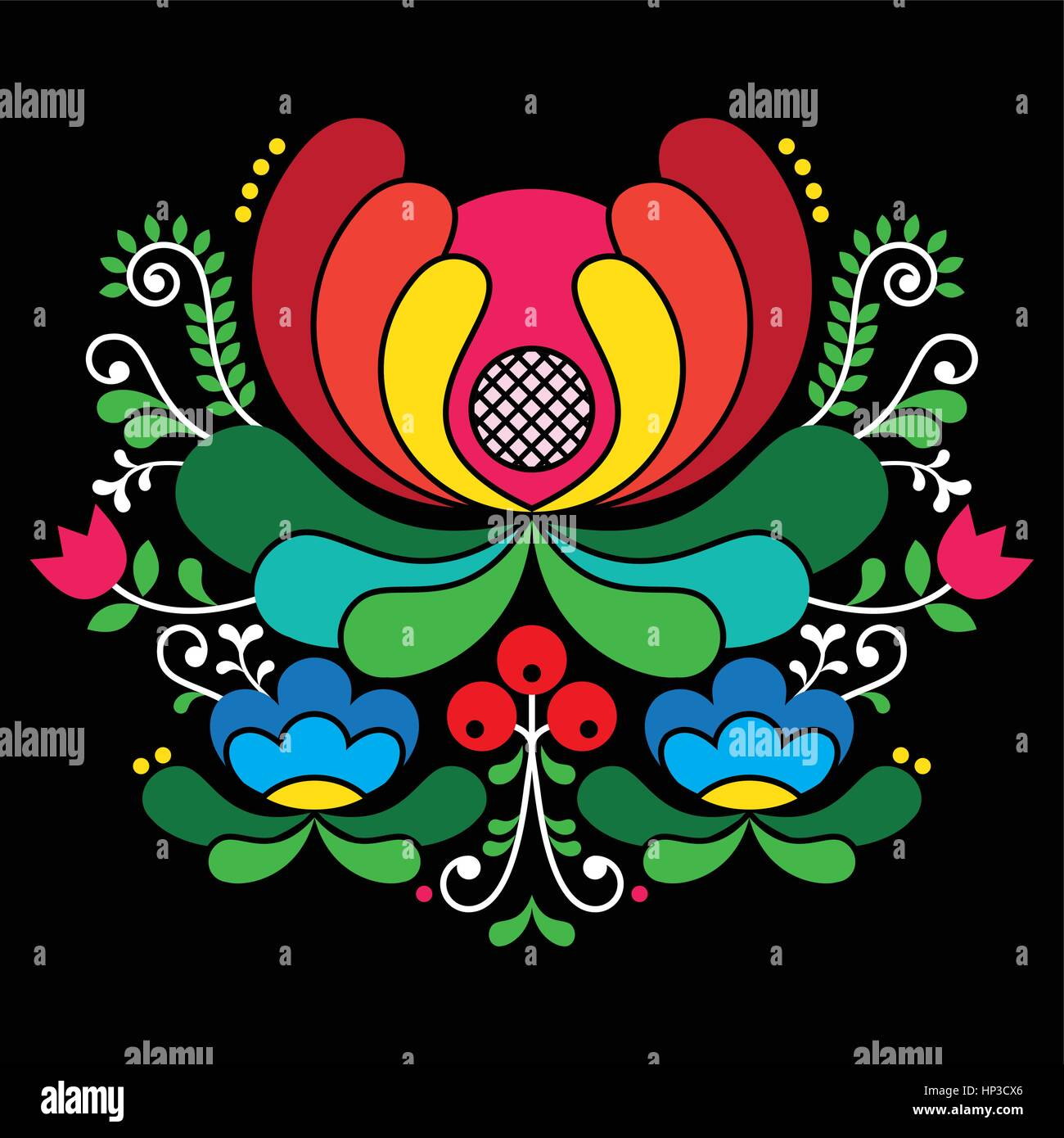 Norwegian folk art pattern - Rosemaling style embroidery on black.  Vector background of floral folk art from Norway Stock Vector