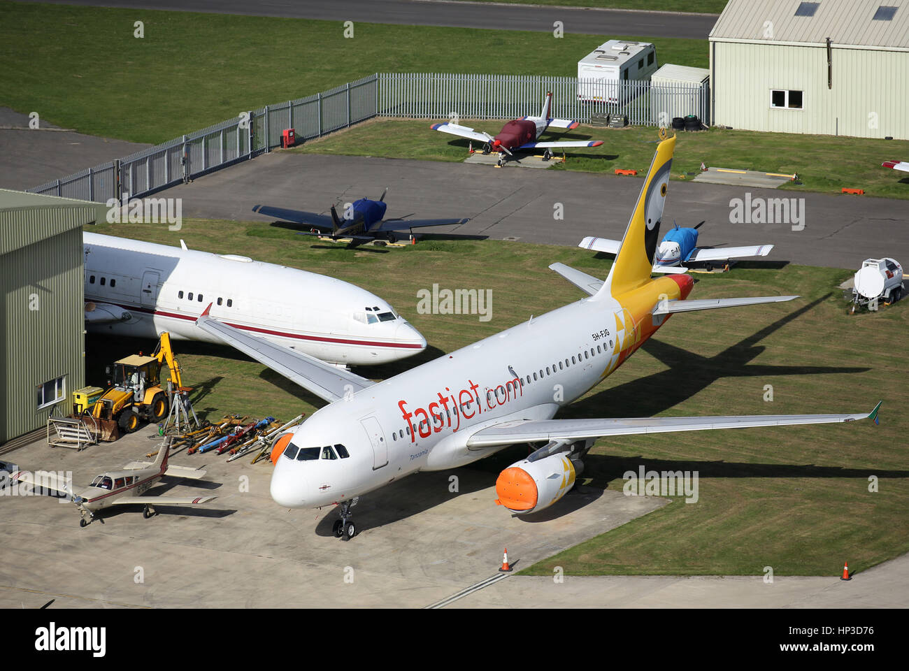 An aircraft from the East African airline, Fastjet, at Kemble - Stock Image