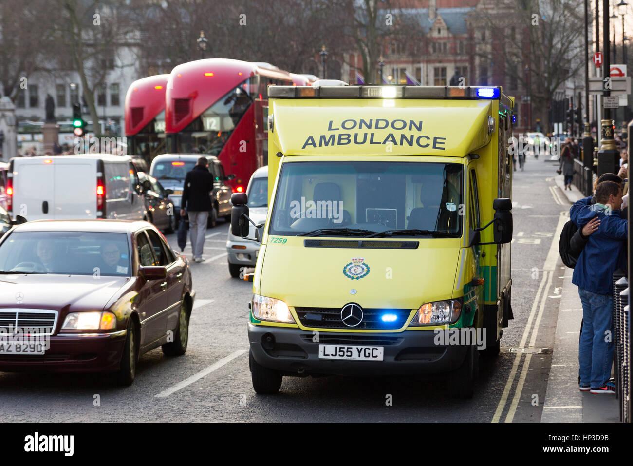 LONDON AMBULANCE MERCEDES PARKED ON BLUE LIGHTS Stock Photo