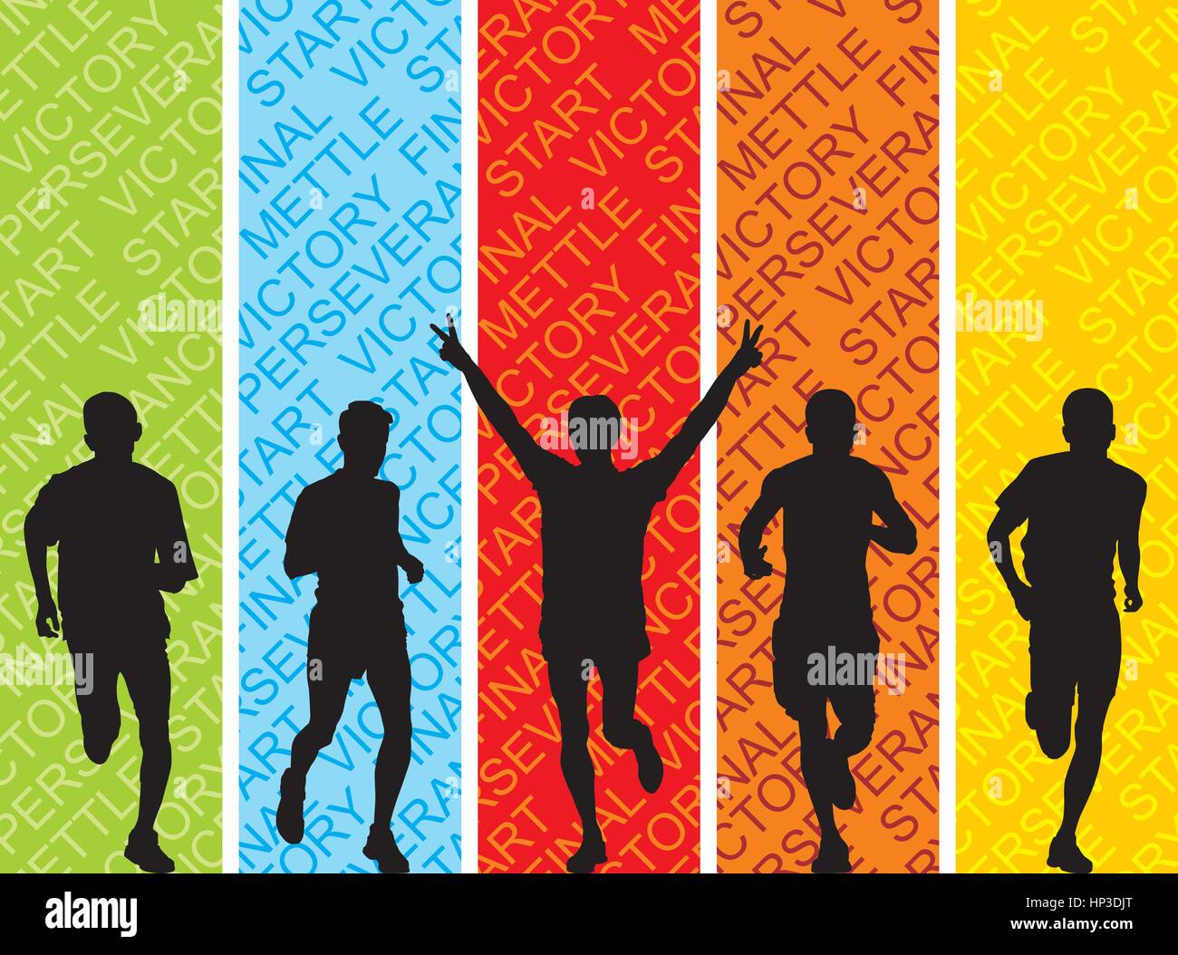 Illustration of runners silhouettes on colorful background with text - Stock Image