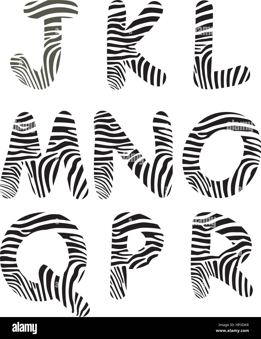 Font made up of zebra camouflage - Stock Vector