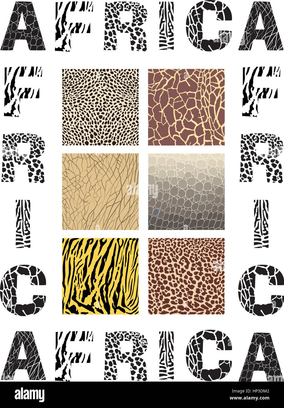 vector illustration Africa - background with text and texture wild animal - Stock Vector