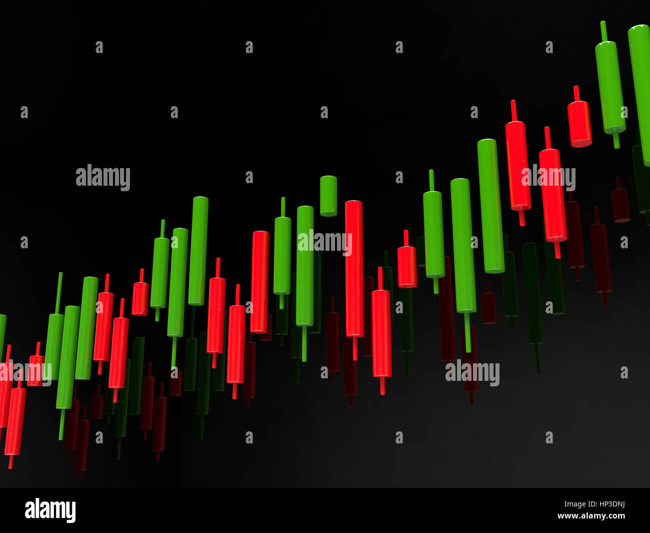 3d rendering of forex index candlestick chart over dark background - Stock Image