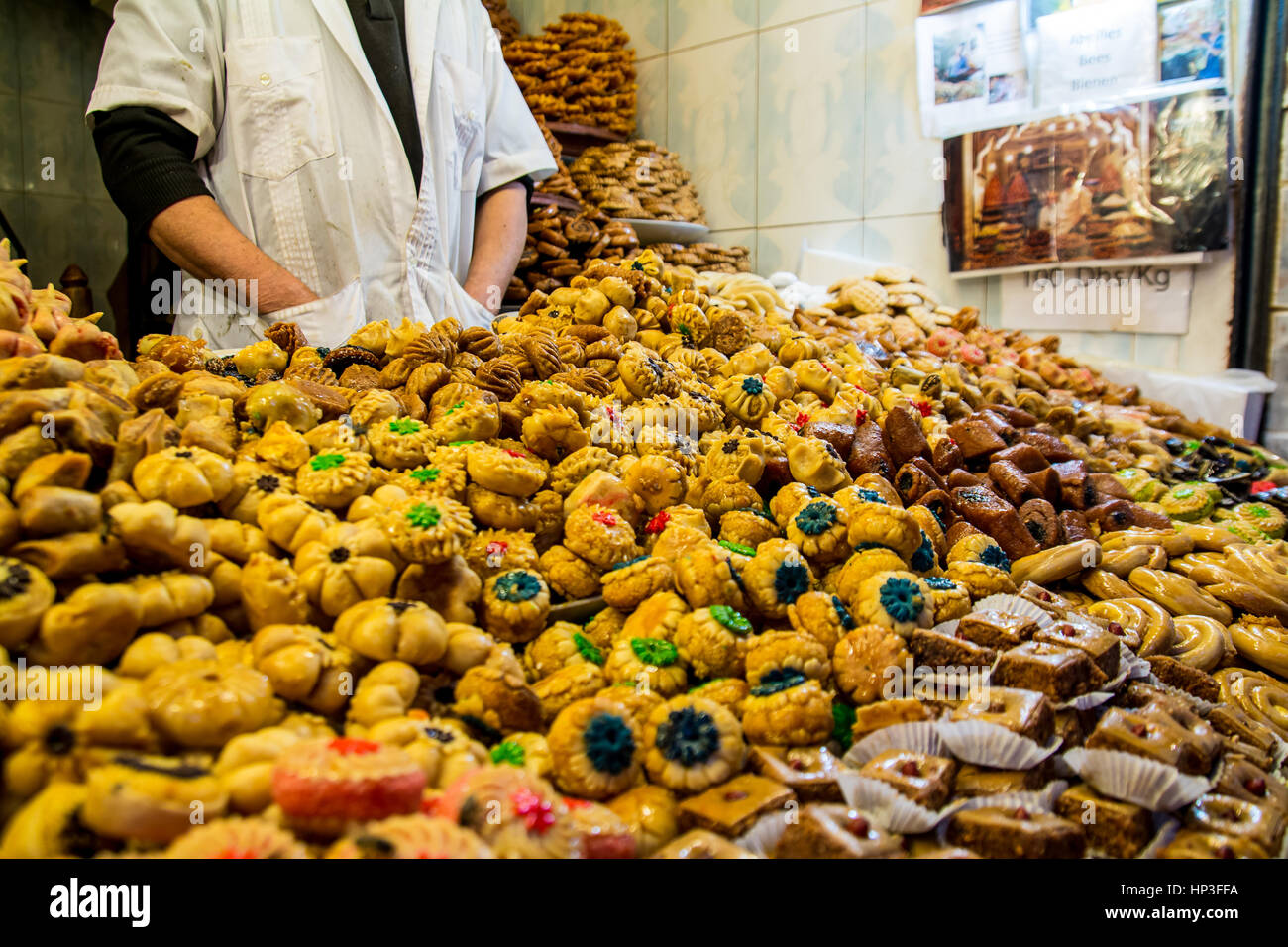 Seller of sweets on the eastern market Marocco Stock Photo