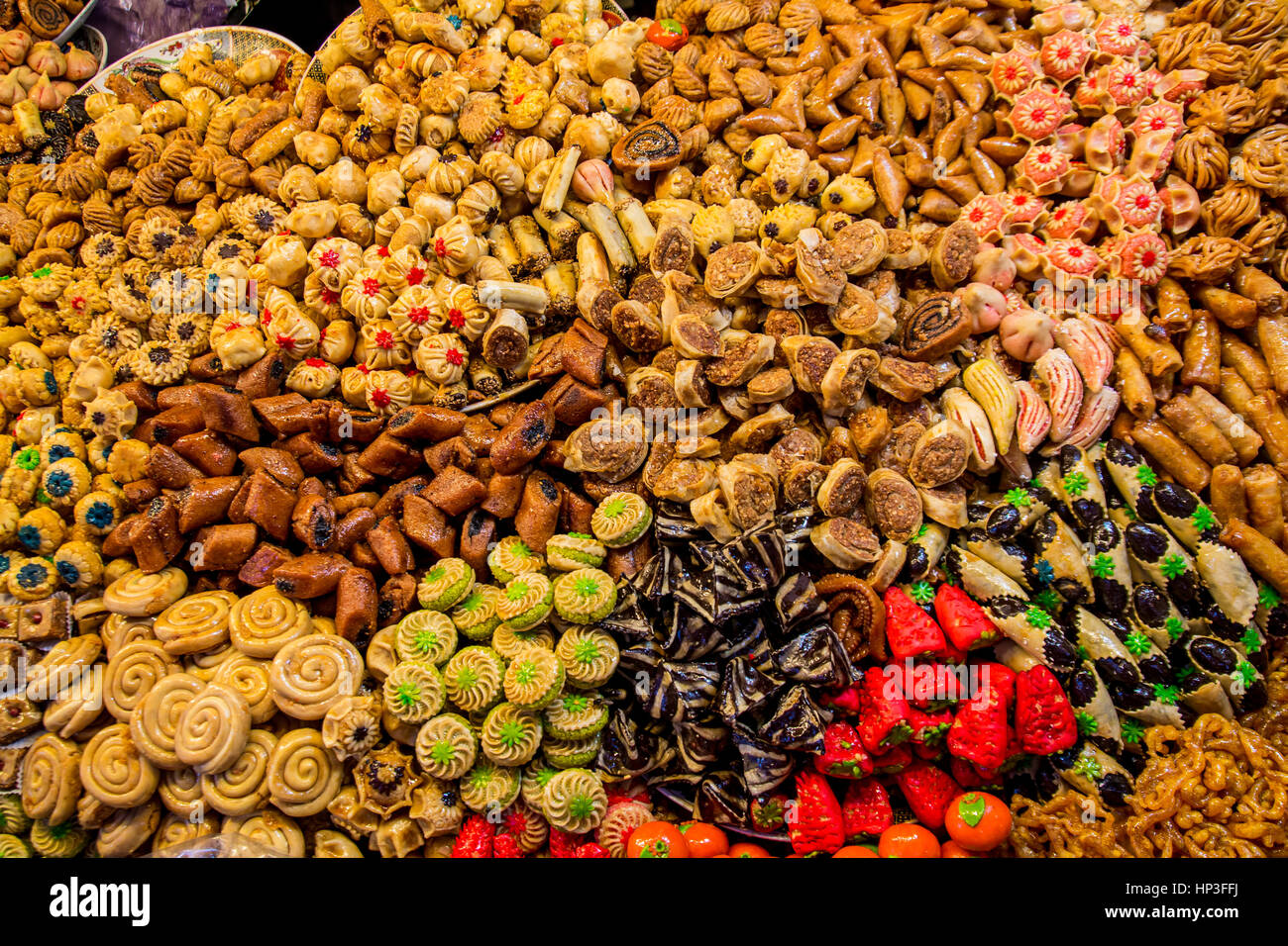 variety of Arabic Desserts on the Arab market close-up Stock Photo