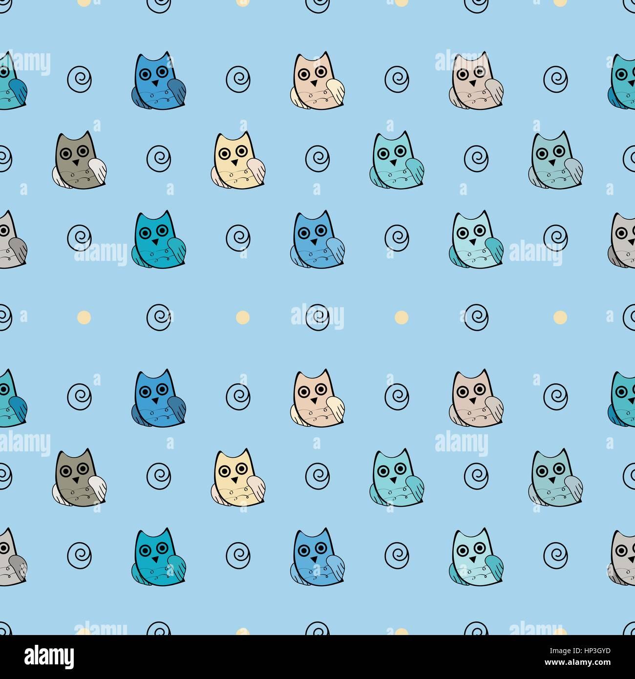 Owl vector seamless pattern - Stock Vector