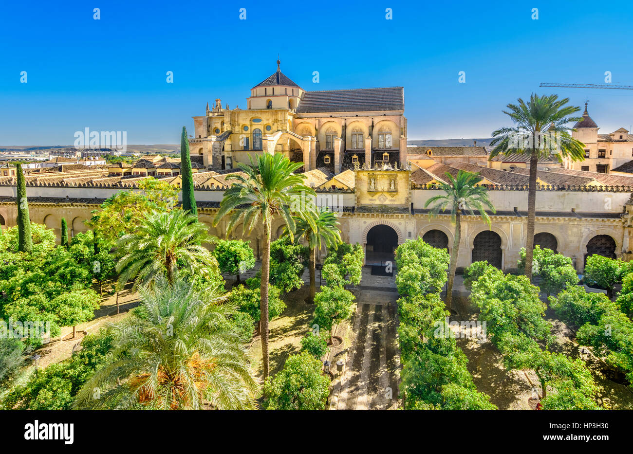 Mezquita Cathedral or The Great Mosque in the daylights seen from the bell-tower, Cordoba, Andalusia, Spain - Stock Image