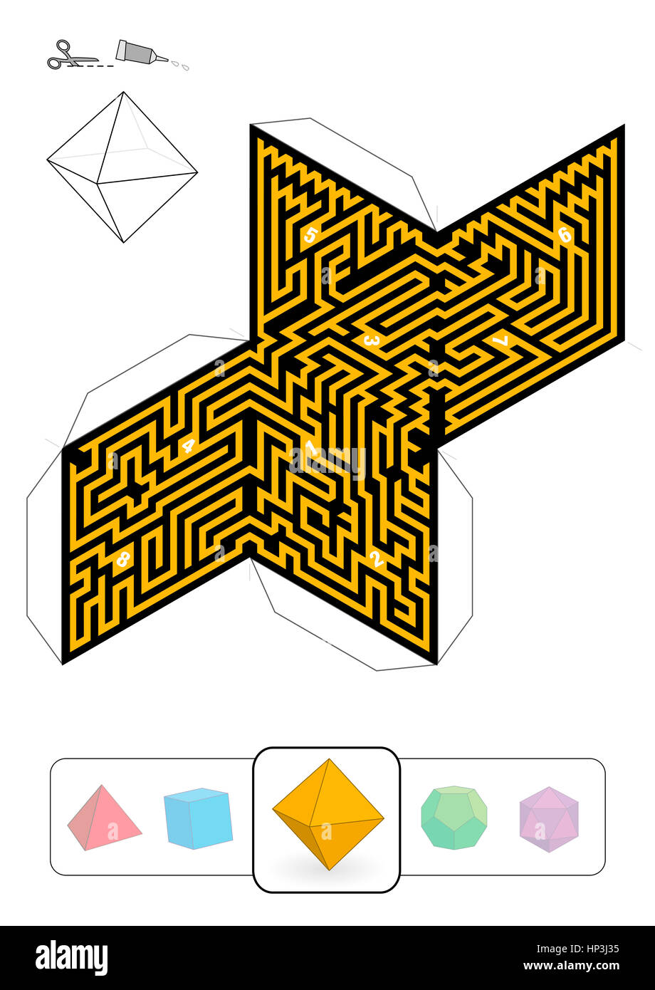 OCTAHEDRON MAZE - template of one of five platonic solid labyrinths ...
