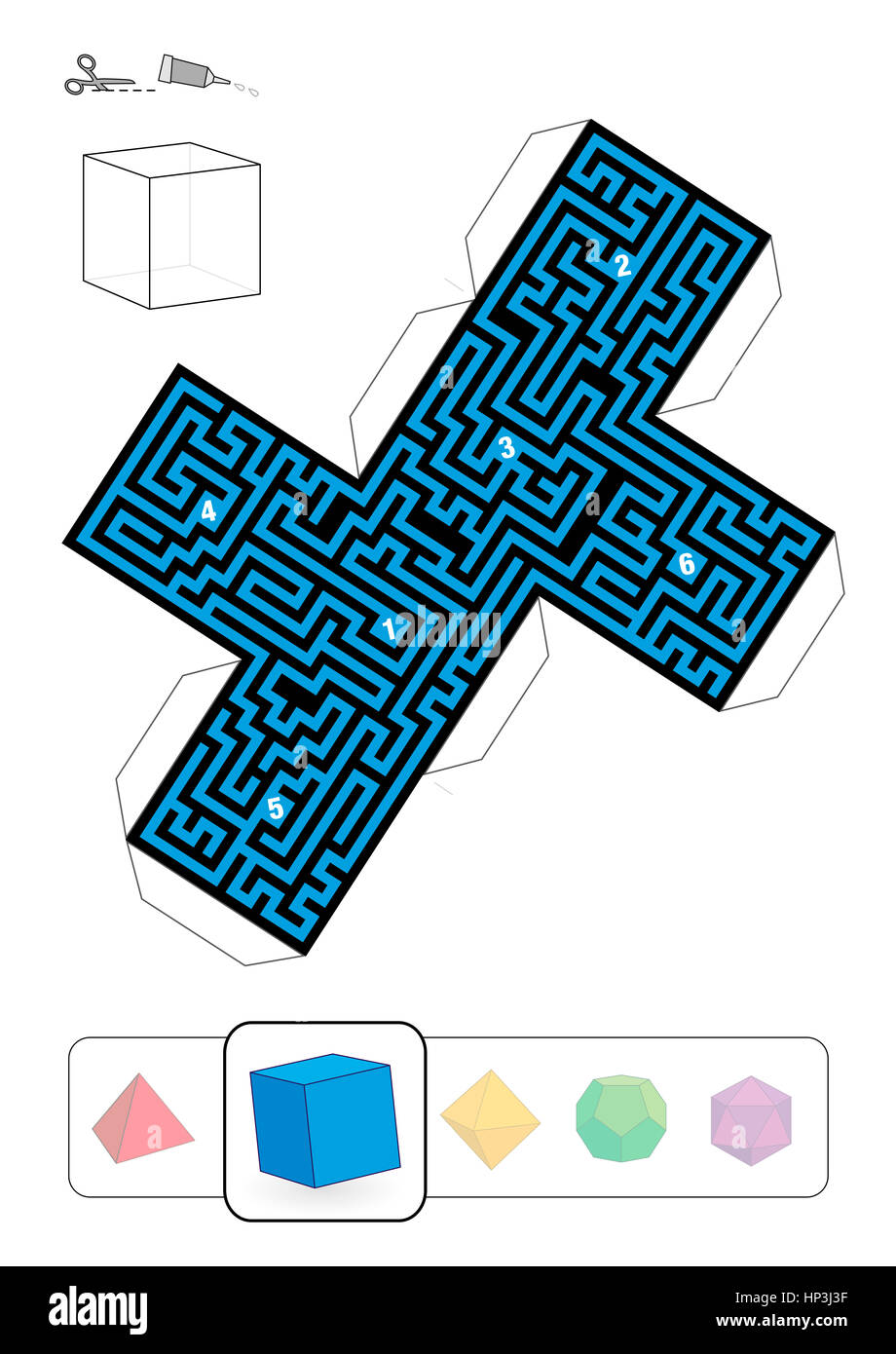 HEXAHEDRON MAZE - template of one of five platonic solid labyrinths - Print on heavy paper, cut it out, make a 3d - Stock Image