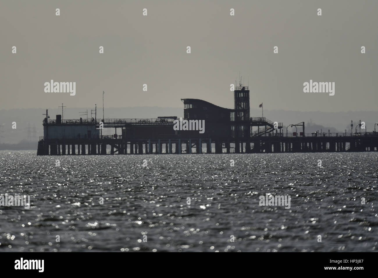 The end of Southend Pier, Essex, on a hazy winter's day. Space for copy - Stock Image