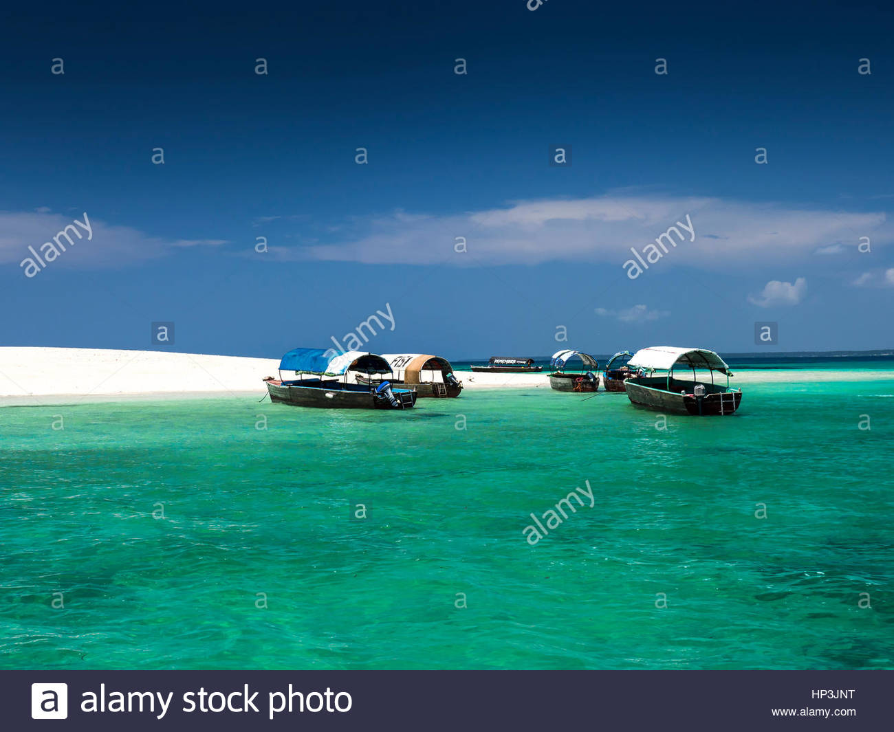Boats in front of Prison Island, Sandbar, Zanzibar Archipelago, Tanzania - Stock Image