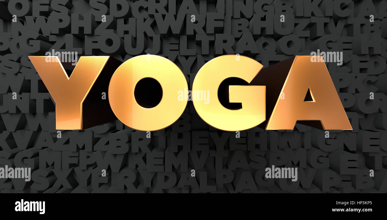Yoga Gold Text On Black Background 3d Rendered Royalty Free Stock Stock Photo Alamy