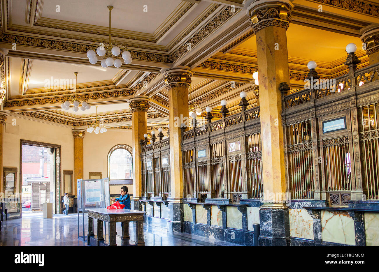 The Post Office Palace, Palacio de Correos, is one the most brilliant examples of the eclectic architecture of the Stock Photo