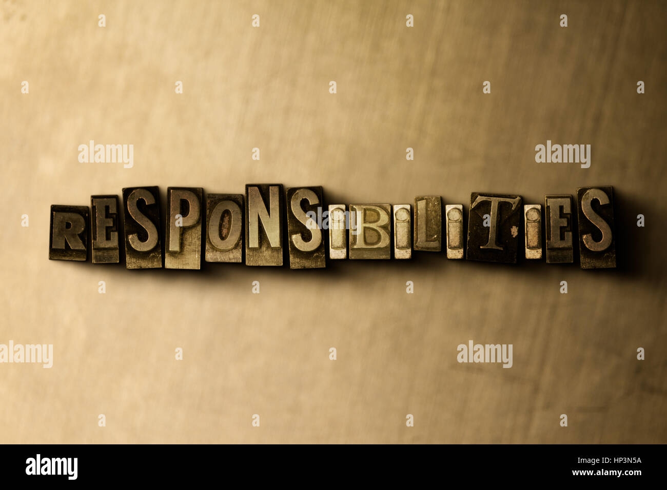 RESPONSIBILITIES - close-up of grungy vintage typeset word on metal backdrop. Royalty free stock illustration.  - Stock Image