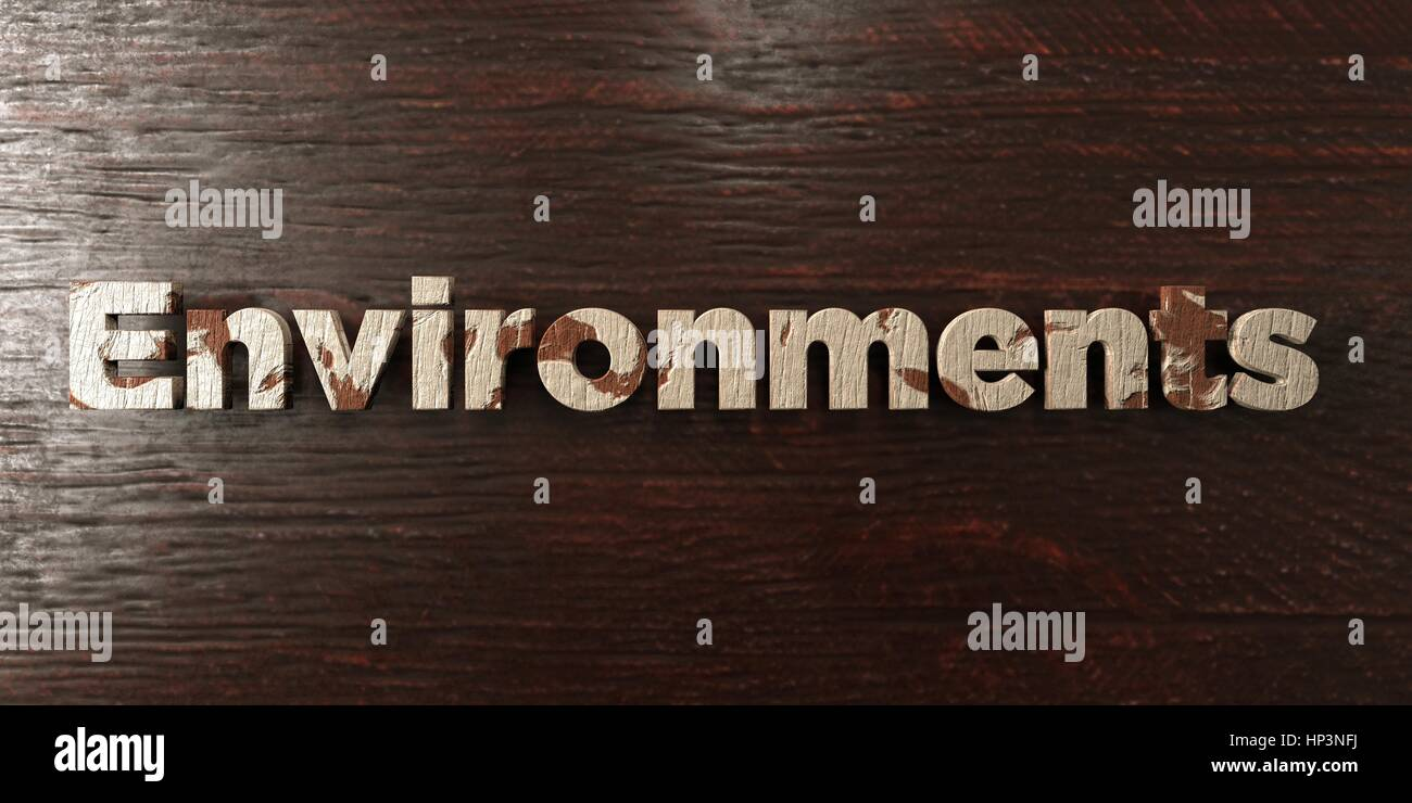 Environments - grungy wooden headline on Maple  - 3D rendered royalty free stock image. This image can be used for - Stock Image