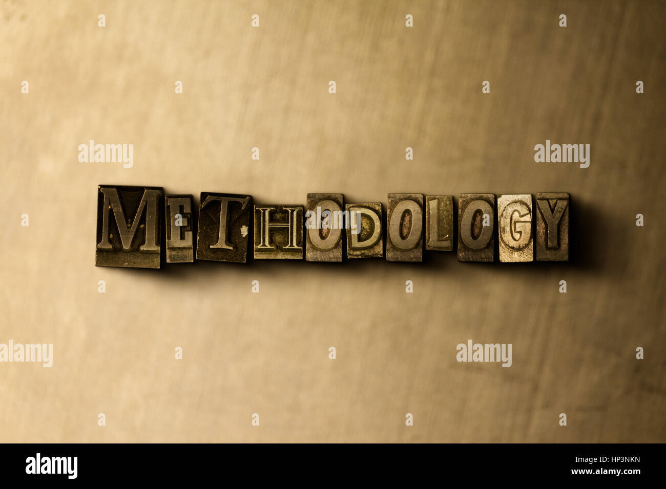 METHODOLOGY - close-up of grungy vintage typeset word on metal backdrop. Royalty free stock illustration.  Can be - Stock Image