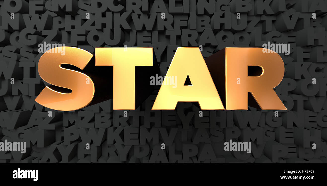 star gold text on black background 3d rendered royalty free