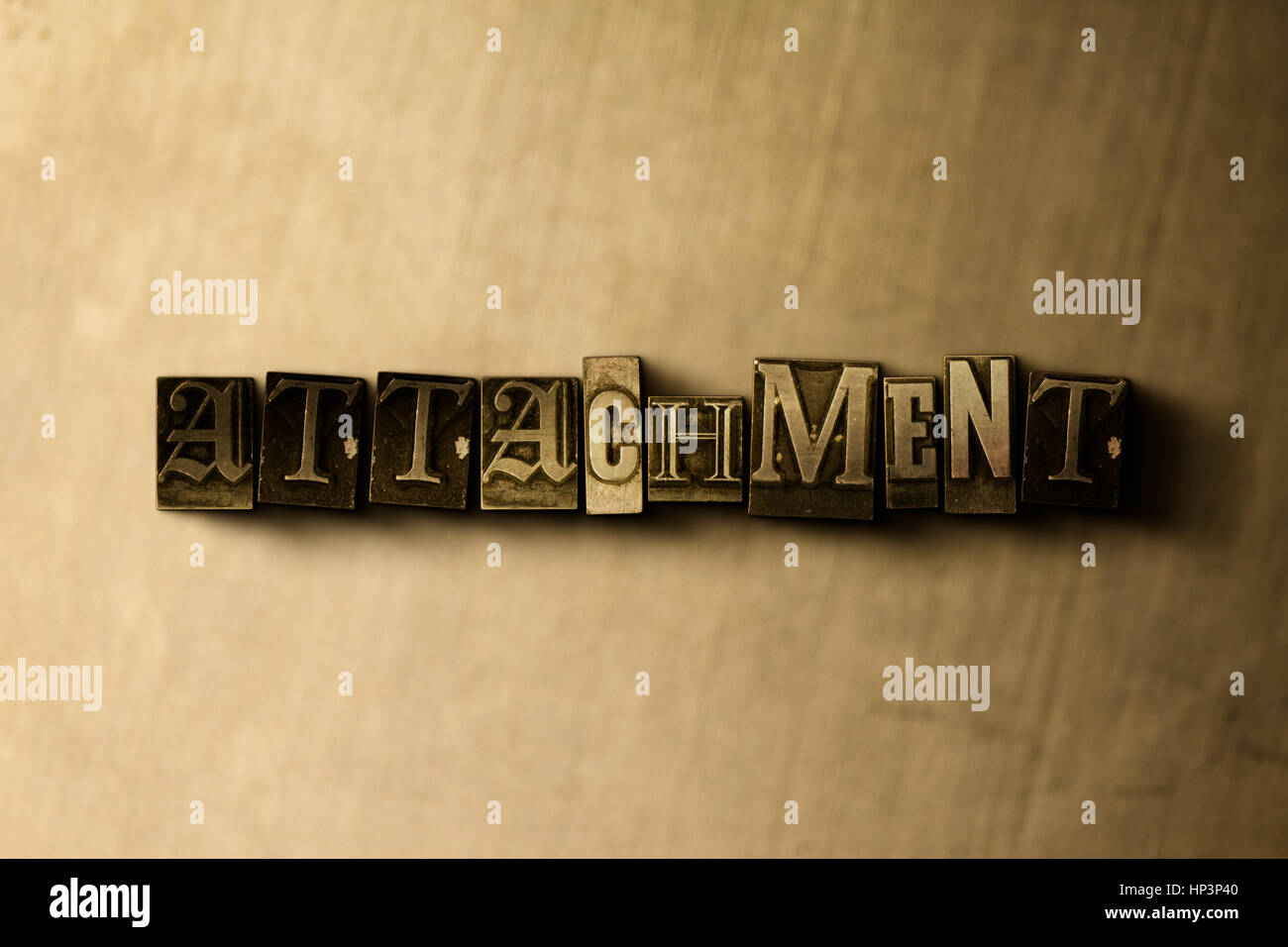 ATTACHMENT - close-up of grungy vintage typeset word on metal backdrop. Royalty free stock illustration.  Can be - Stock Image