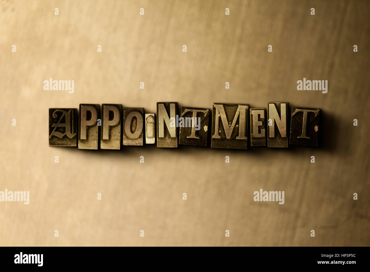 APPOINTMENT - close-up of grungy vintage typeset word on metal backdrop. Royalty free stock illustration.  Can be - Stock Image