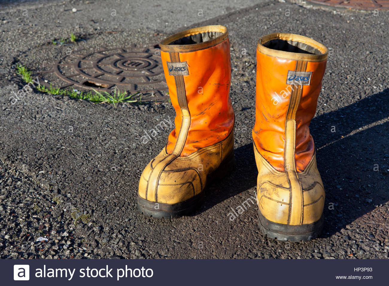 heavy duty fishermen working safety boots Japan - Stock Image