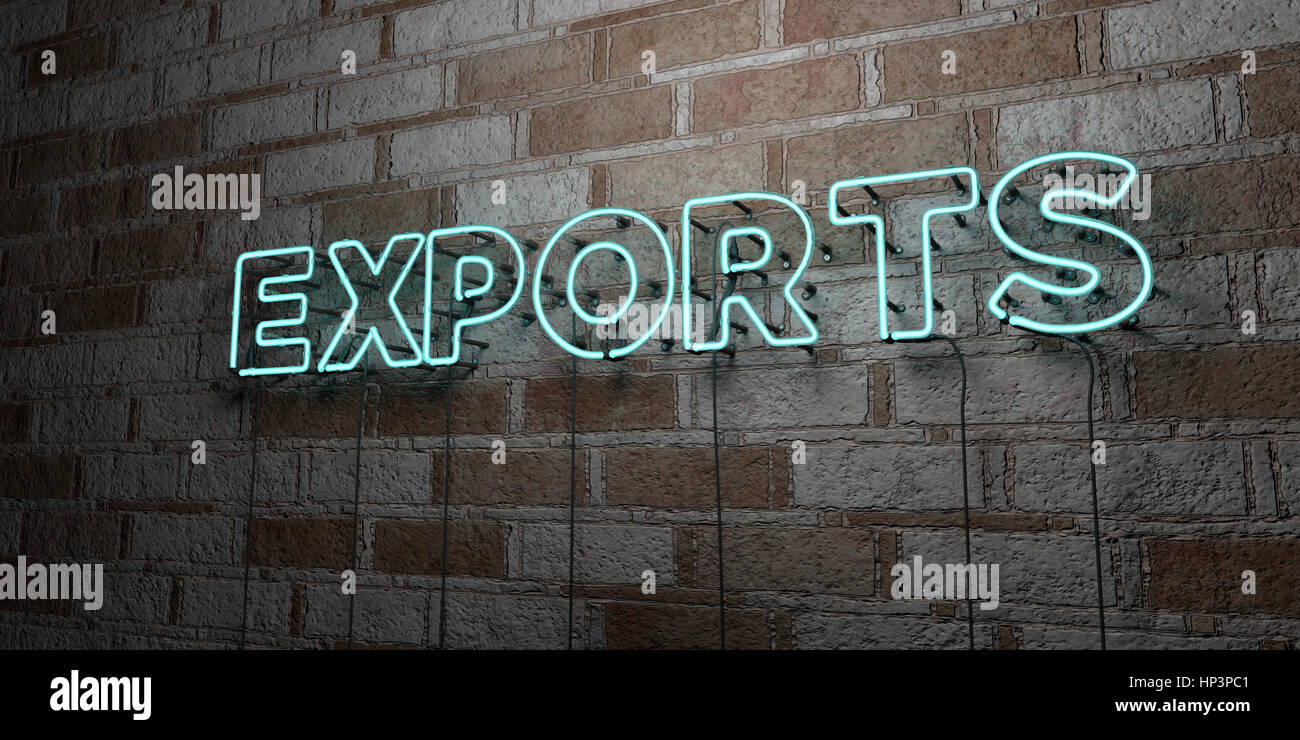EXPORTS - Glowing Neon Sign on stonework wall - 3D rendered royalty free stock illustration.  Can be used for online - Stock Image