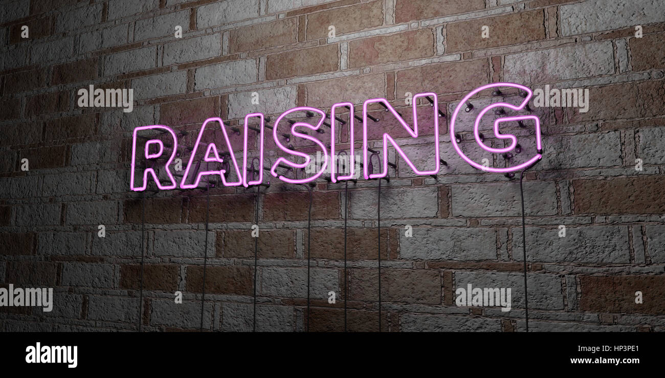 RAISING - Glowing Neon Sign on stonework wall - 3D rendered royalty free stock illustration.  Can be used for online - Stock Image