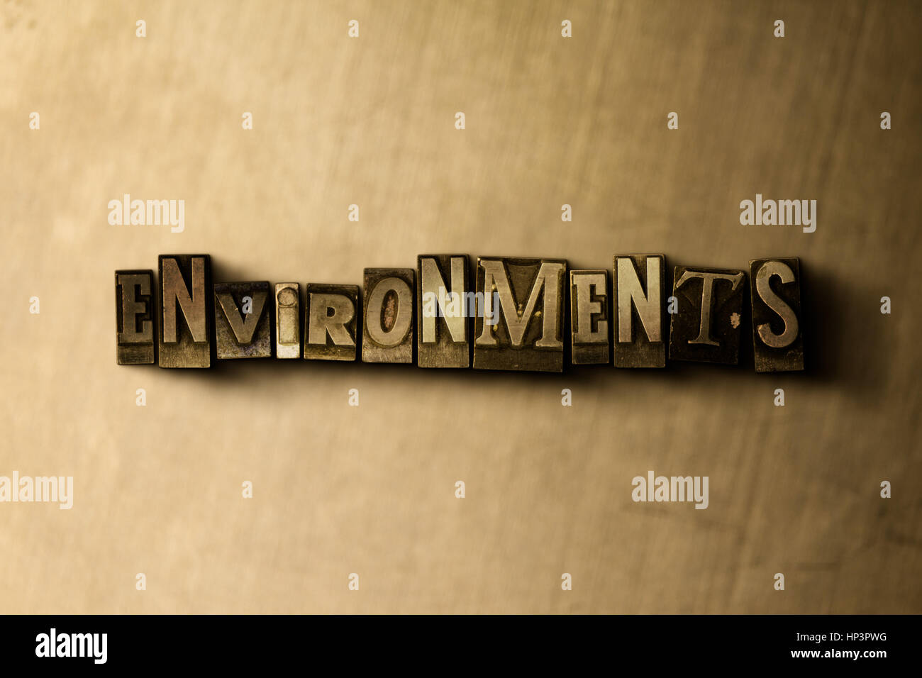 ENVIRONMENTS - close-up of grungy vintage typeset word on metal backdrop. Royalty free stock illustration.  Can - Stock Image