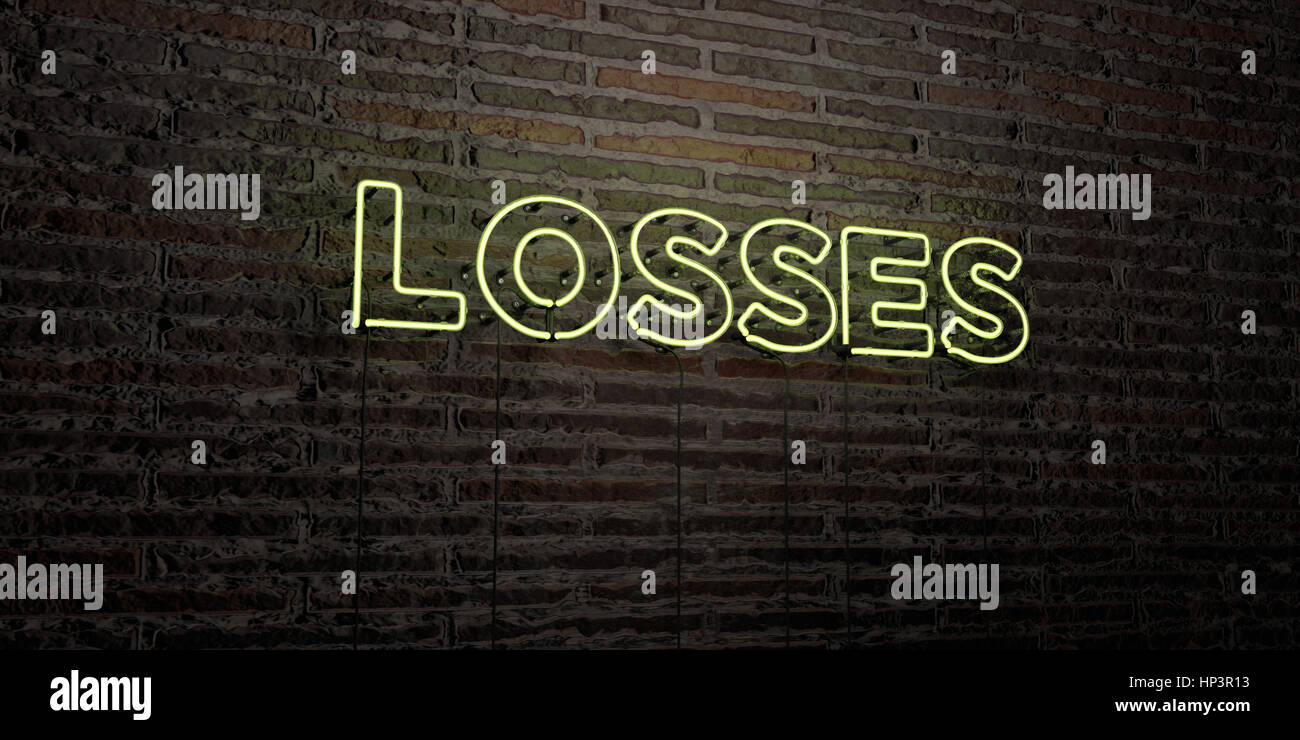 LOSSES -Realistic Neon Sign on Brick Wall background - 3D rendered royalty free stock image. Can be used for online - Stock Image