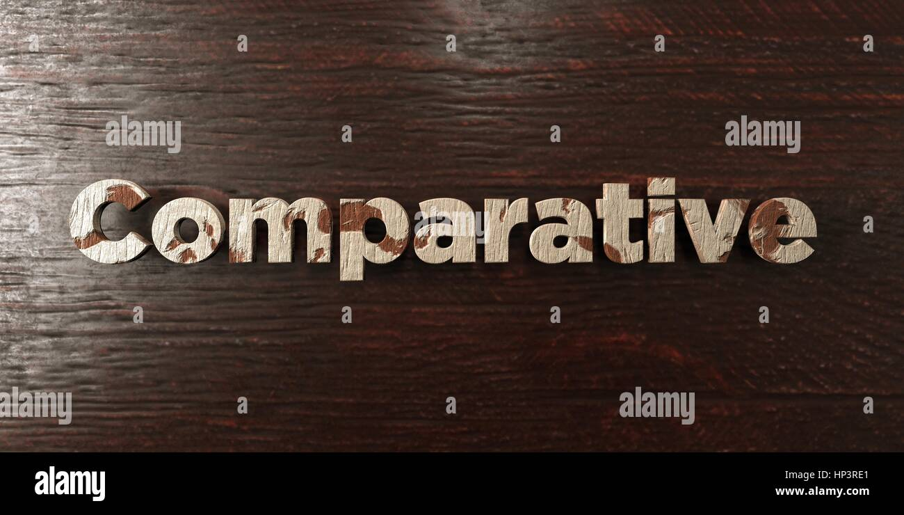 Comparative - grungy wooden headline on Maple  - 3D rendered royalty free stock image. This image can be used for - Stock Image