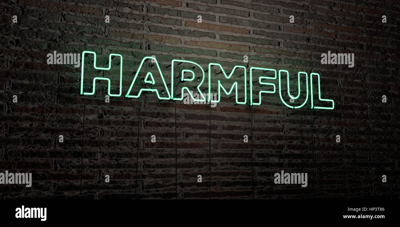 HARMFUL -Realistic Neon Sign on Brick Wall background - 3D rendered royalty free stock image. Can be used for online - Stock Image