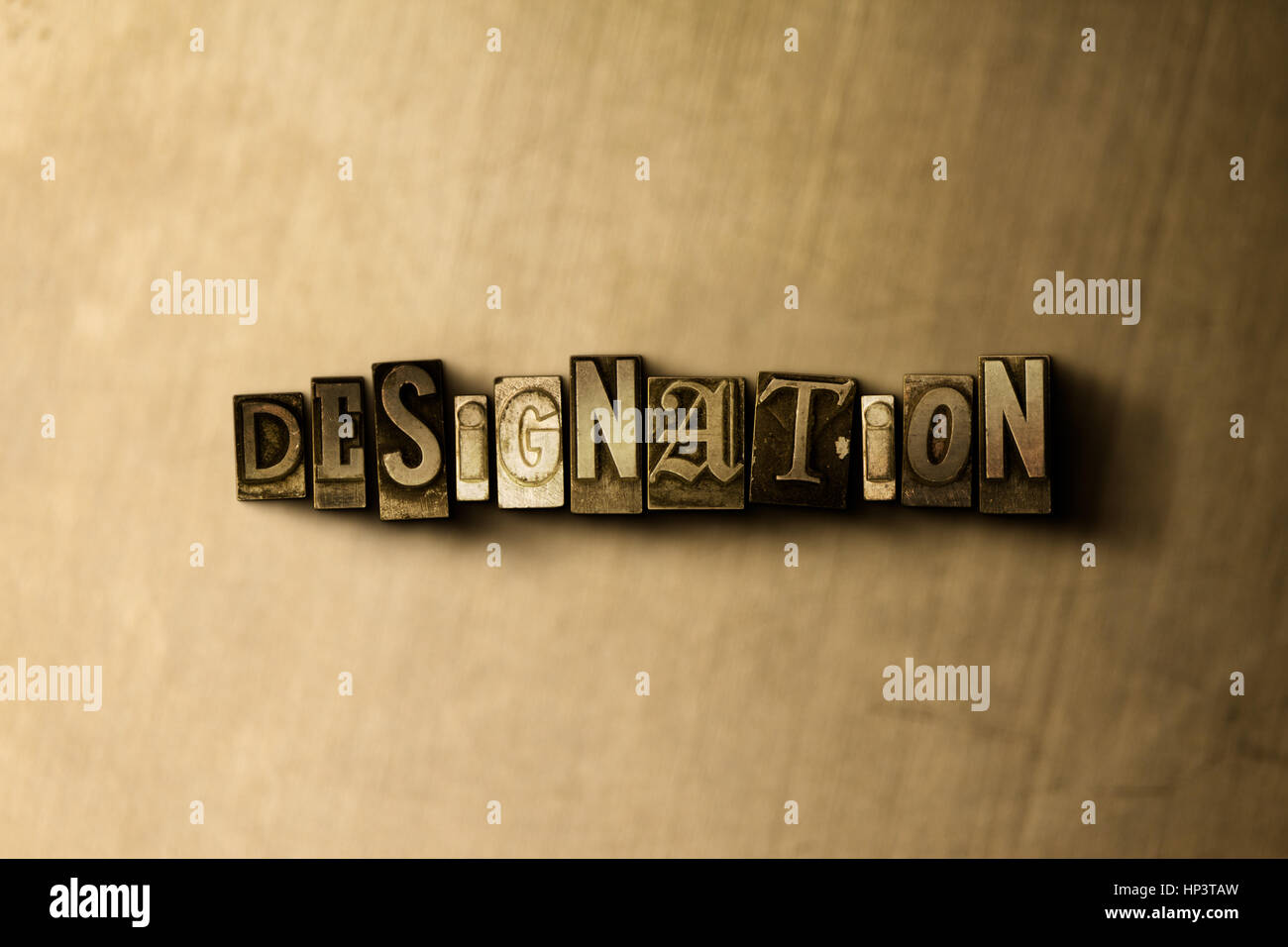 DESIGNATION - close-up of grungy vintage typeset word on metal backdrop. Royalty free stock illustration.  Can be - Stock Image