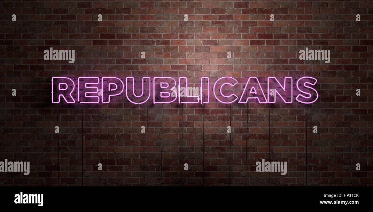 REPUBLICANS - fluorescent Neon tube Sign on brickwork - Front view - 3D rendered royalty free stock picture. Can - Stock Image