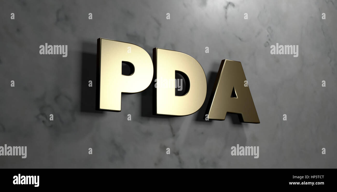 Pda - Gold sign mounted on glossy marble wall  - 3D rendered royalty free stock illustration. This image can be - Stock Image