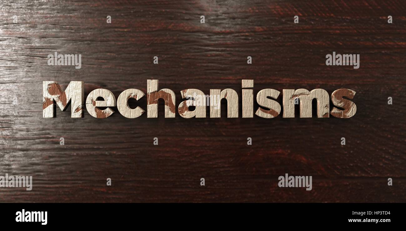 Mechanisms - grungy wooden headline on Maple  - 3D rendered royalty free stock image. This image can be used for - Stock Image