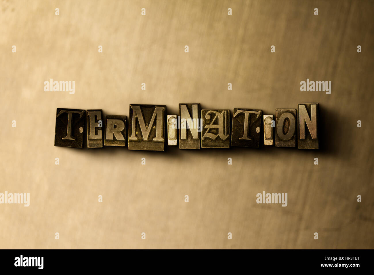 TERMINATION - close-up of grungy vintage typeset word on metal backdrop. Royalty free stock illustration.  Can be - Stock Image