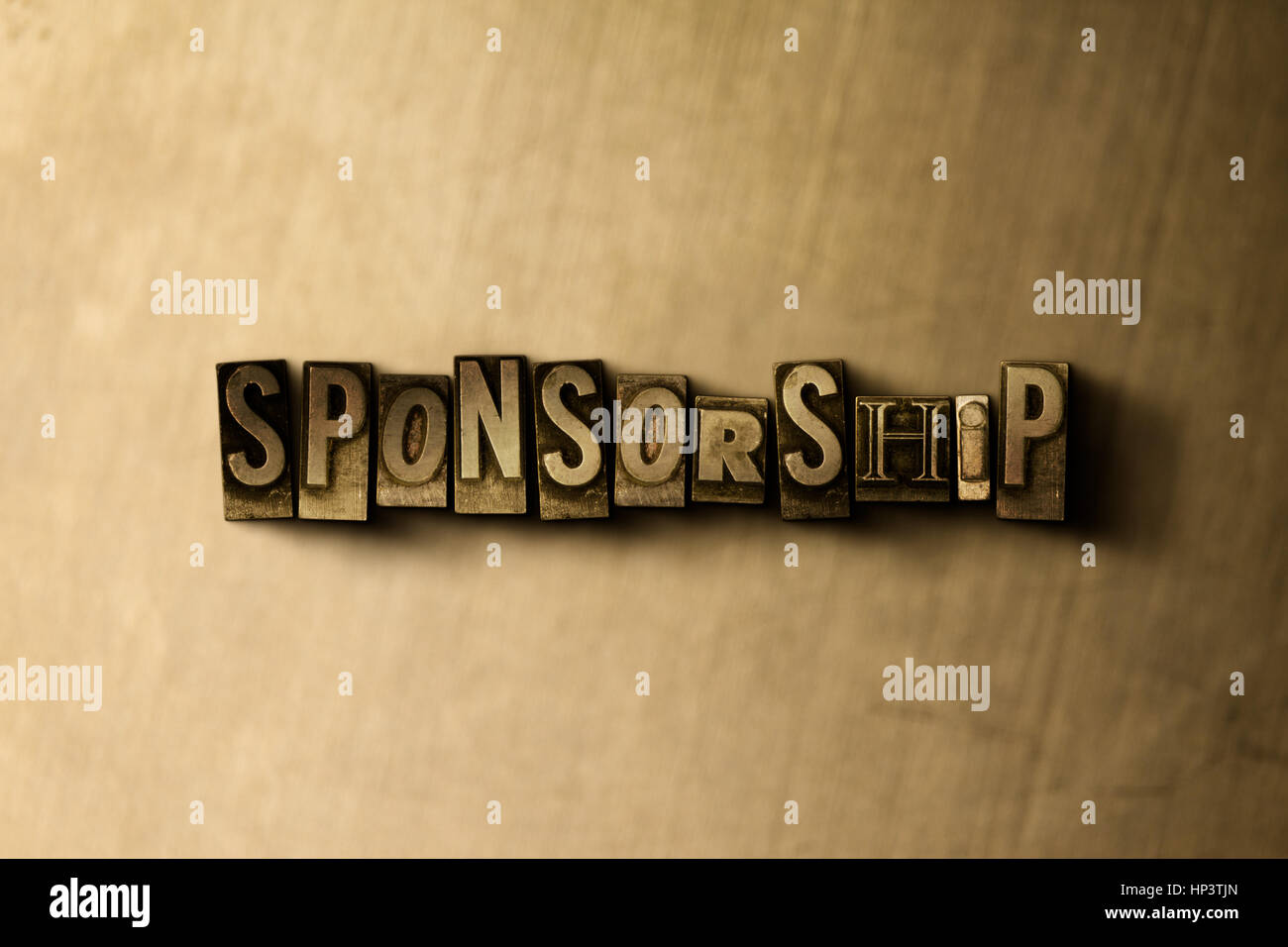 SPONSORSHIP - close-up of grungy vintage typeset word on metal backdrop. Royalty free stock illustration.  Can be - Stock Image