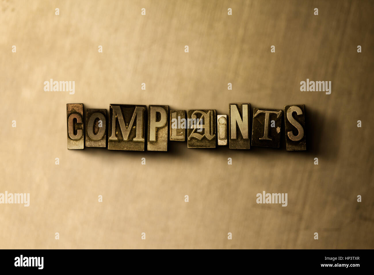 COMPLAINTS - close-up of grungy vintage typeset word on metal backdrop. Royalty free stock illustration.  Can be - Stock Image