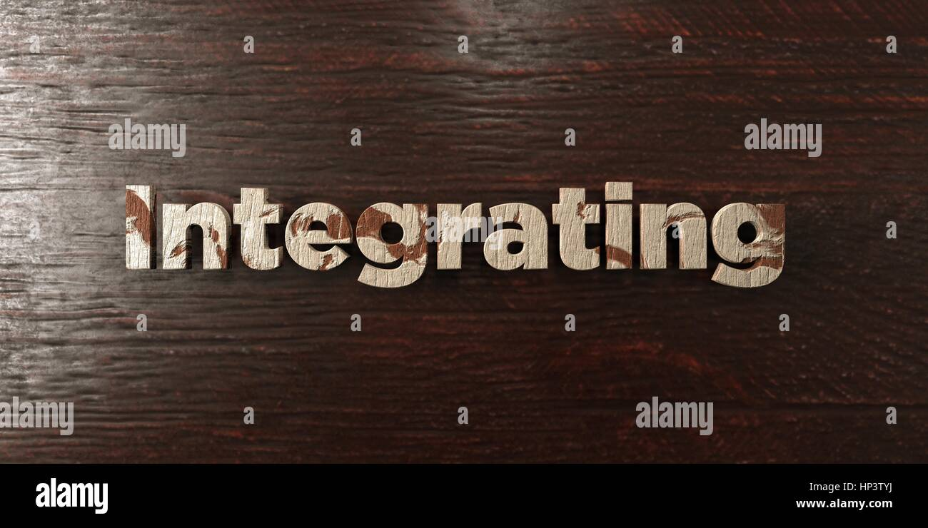 Integrating - grungy wooden headline on Maple  - 3D rendered royalty free stock image. This image can be used for Stock Photo
