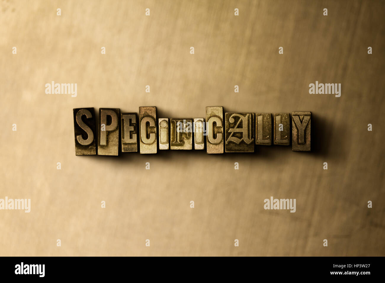 SPECIFICALLY - close-up of grungy vintage typeset word on metal backdrop. Royalty free stock illustration.  Can - Stock Image