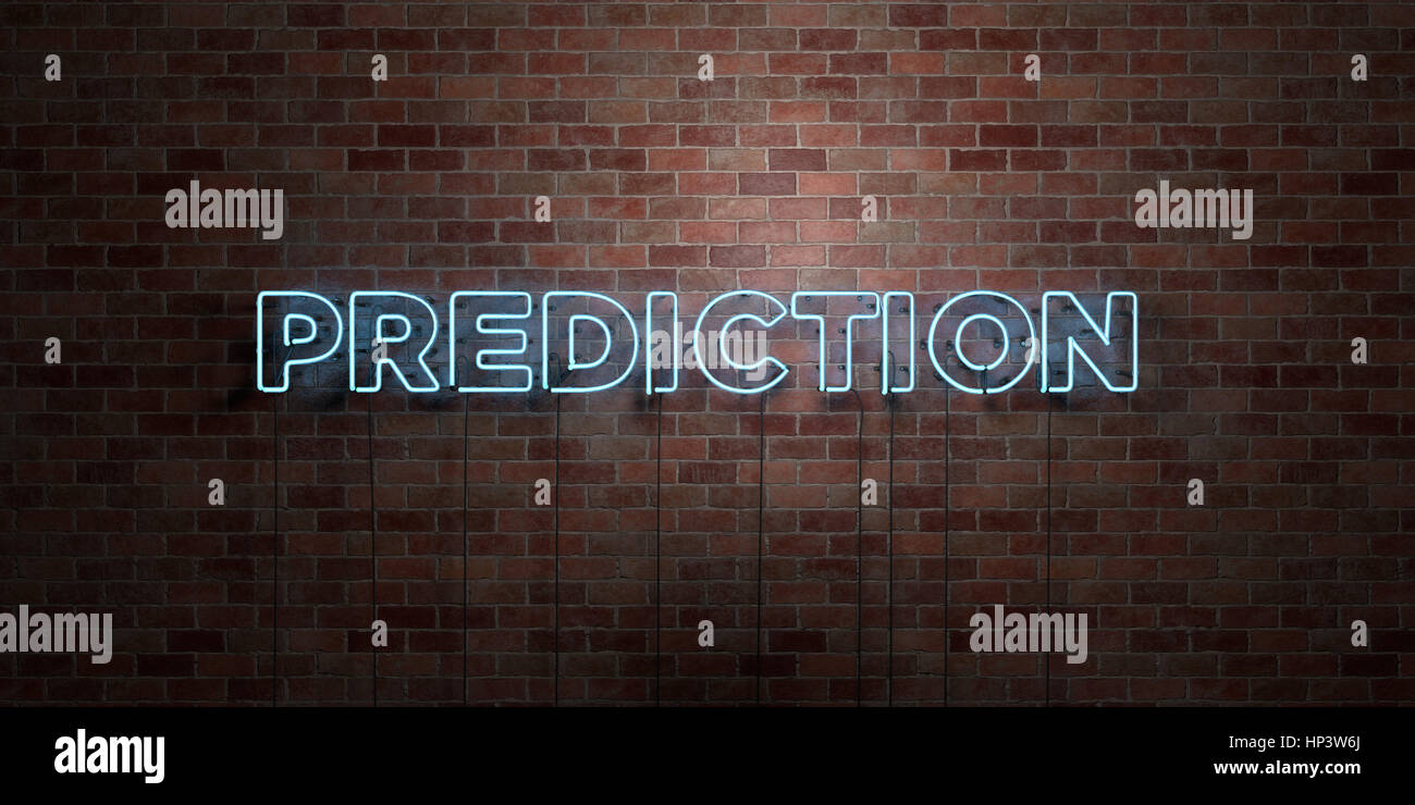 PREDICTION - fluorescent Neon tube Sign on brickwork - Front view - 3D rendered royalty free stock picture. Can - Stock Image