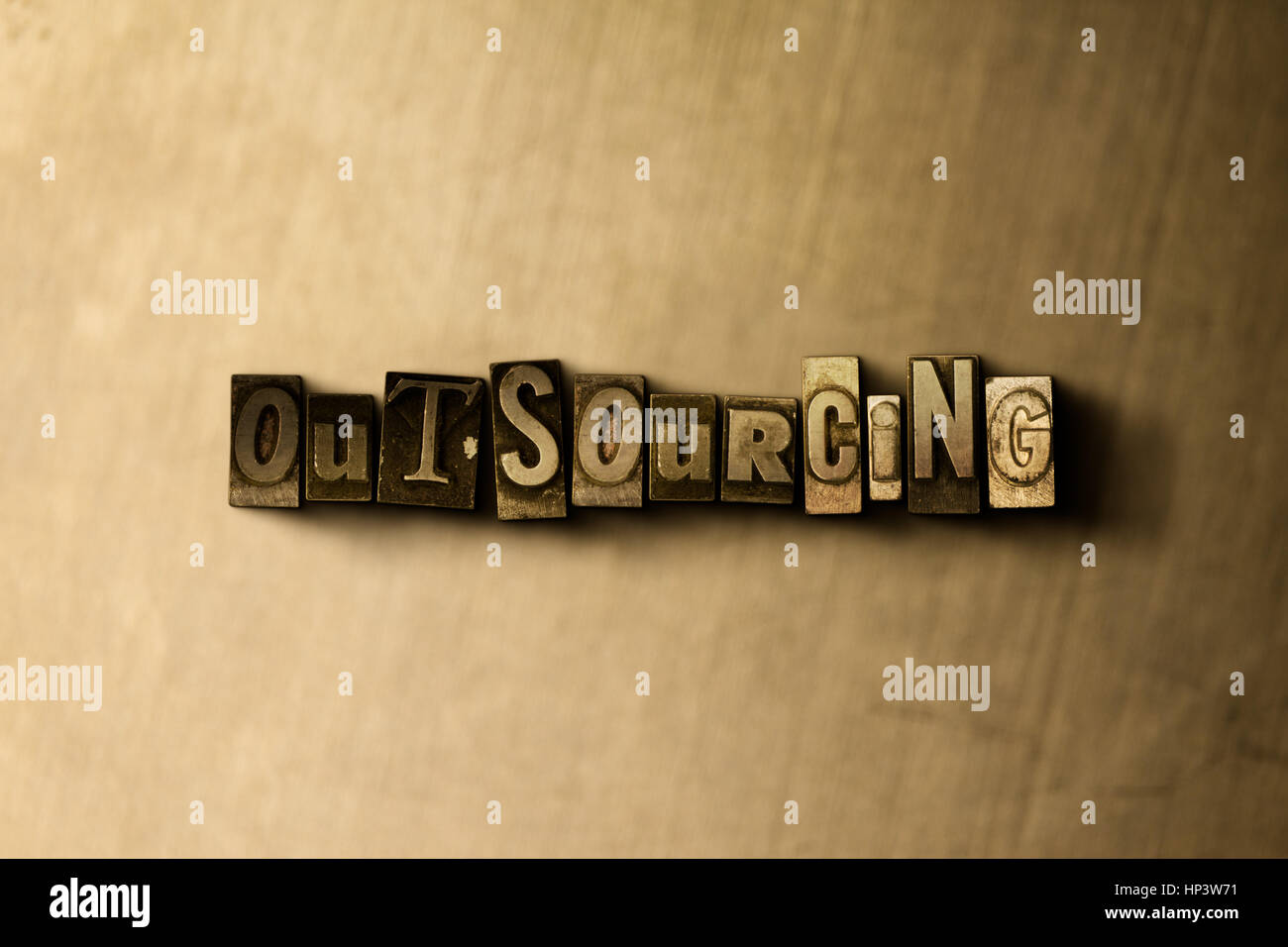 OUTSOURCING - close-up of grungy vintage typeset word on metal backdrop. Royalty free stock illustration.  Can be - Stock Image