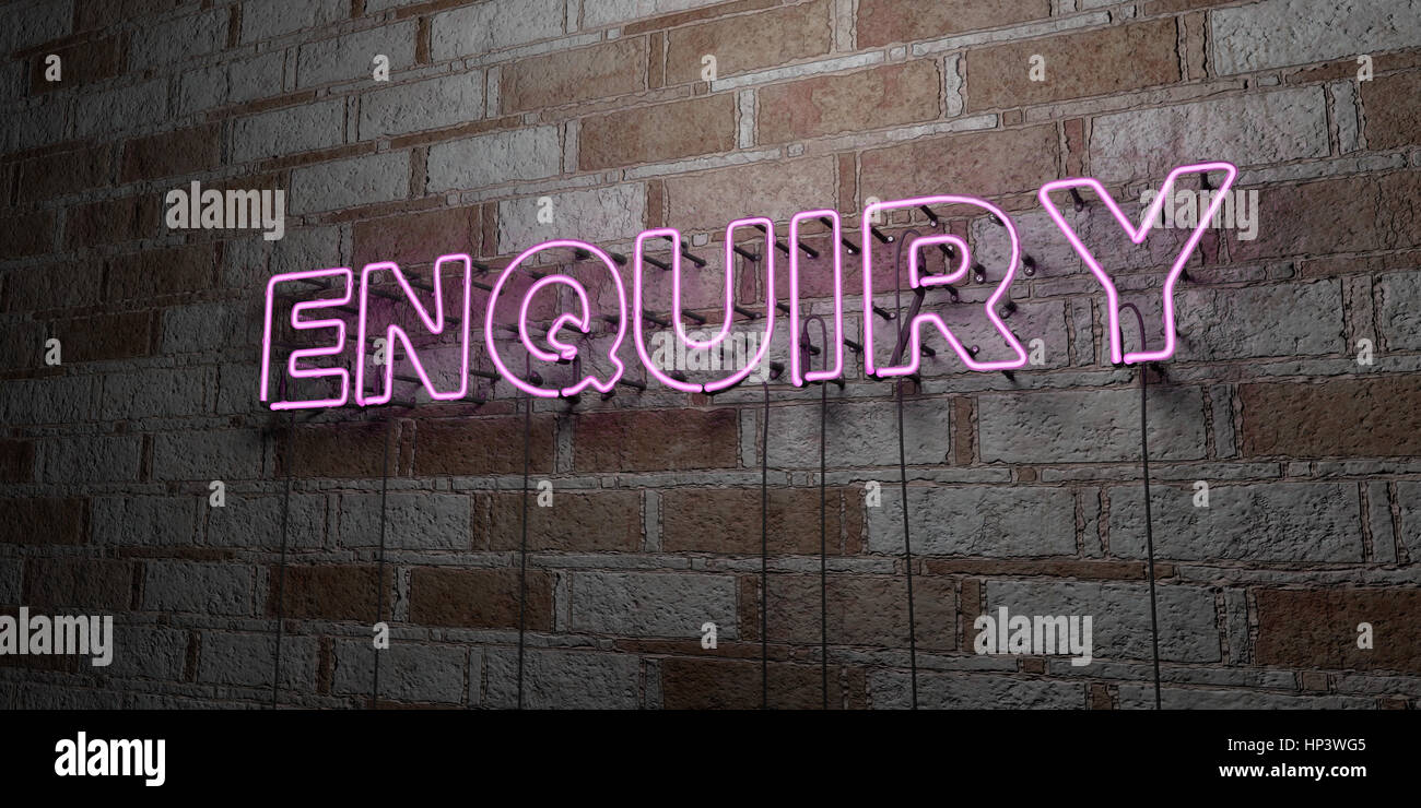 ENQUIRY - Glowing Neon Sign on stonework wall - 3D rendered royalty free stock illustration.  Can be used for online - Stock Image