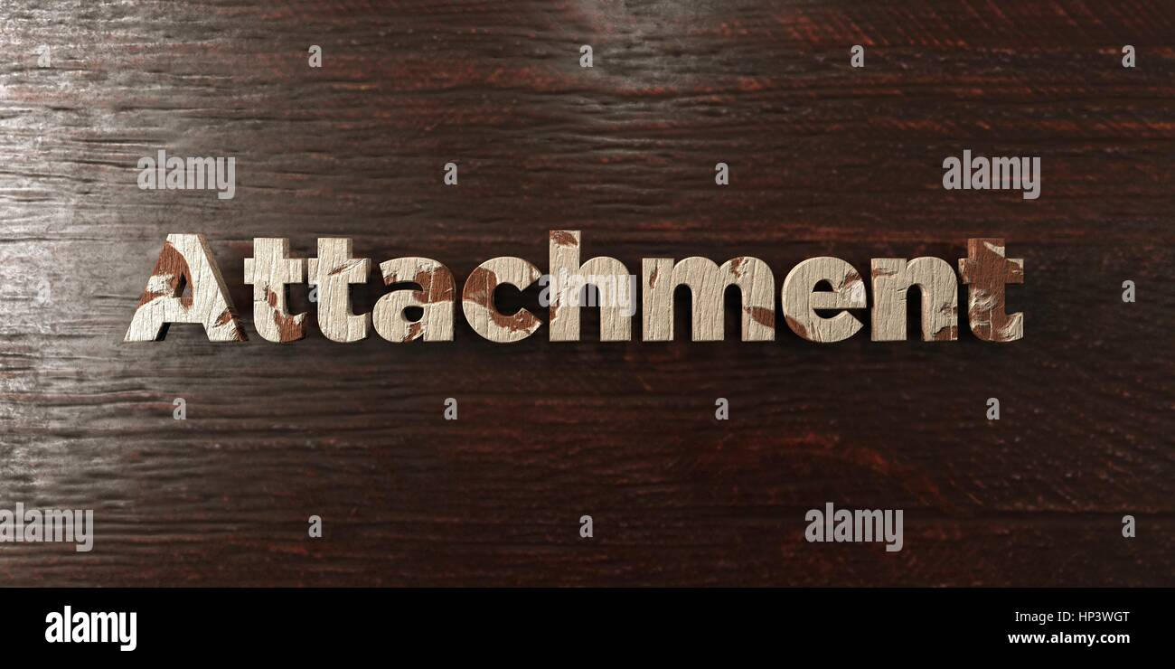 Attachment - grungy wooden headline on Maple  - 3D rendered royalty free stock image. This image can be used for - Stock Image