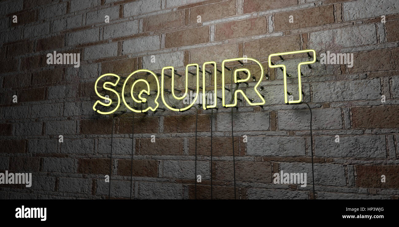SQUIRT - Glowing Neon Sign on stonework wall - 3D rendered royalty free stock illustration.  Can be used for online - Stock Image