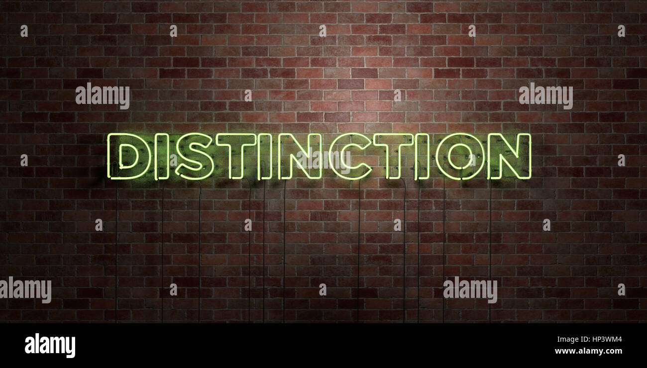 DISTINCTION - fluorescent Neon tube Sign on brickwork - Front view - 3D rendered royalty free stock picture. Can - Stock Image
