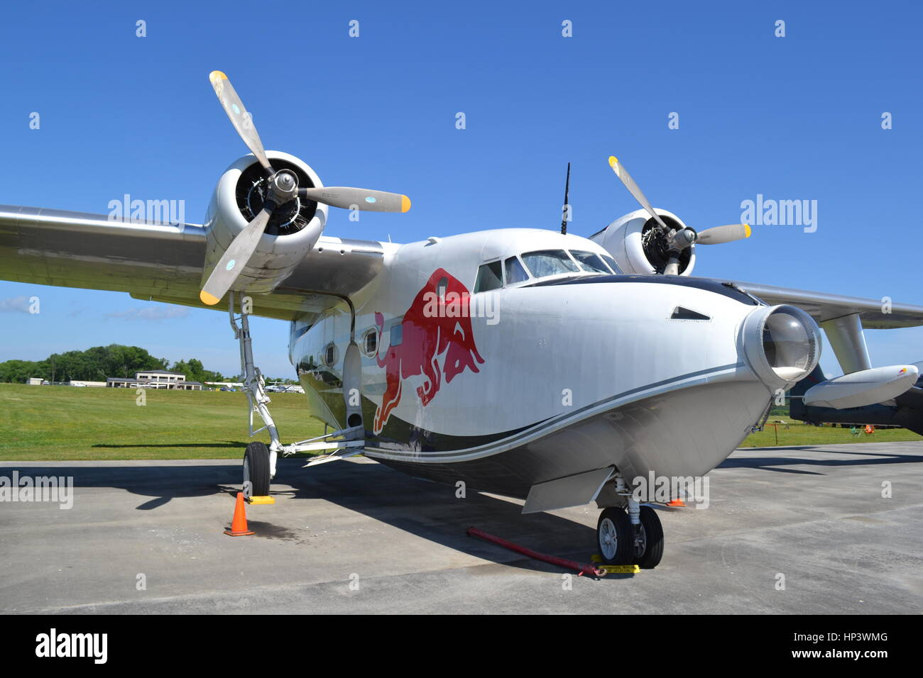 'Red Bull' HU-16 Grumman Albatross, Gatlinburg-Pigeon Forge Airport, Tennessee Stock Photo