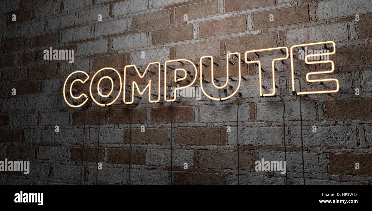 COMPUTE - Glowing Neon Sign on stonework wall - 3D rendered royalty free stock illustration.  Can be used for online Stock Photo