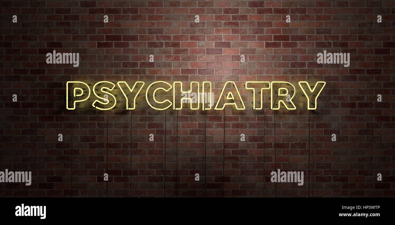 PSYCHIATRY - fluorescent Neon tube Sign on brickwork - Front view - 3D rendered royalty free stock picture. Can - Stock Image